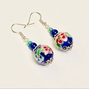 Special Blue Green & Pink Cloisonné Earrings